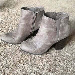 Fergalicious Grey/Taupe Heeled Booties 7.5
